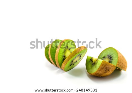 Views of quartered and sliced kiwi fruit