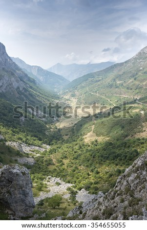 Views of Saliencia Valley, Somiedo Nature Reserve. It is located in the central area of the Cantabrian Mountains in the Principality of Asturias in northern Spain - stock photo