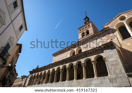 Views of the Church of San Martin, Segovia, Spain. It was built in the 12th century, Mozarab in origin and Romanesque style - stock photo