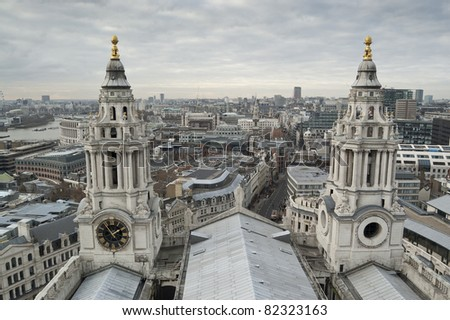 Views of The City of London from St Paul's Cathedral - stock photo