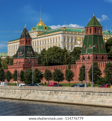 Views of the Grand Palace of the Moscow Kremlin - Russia - stock photo