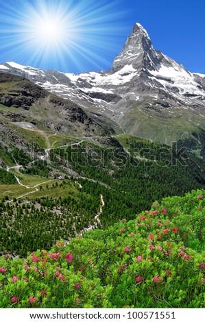 views of the Matterhorn - Swiss Alps - stock photo
