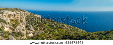 Views of the mediterranean sea from the Dingli Cliffs (Rdum ta' Had-Dingli) at sunset in Malta