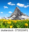 Views of the mountain Matterhorn in Pennine Alps, Switzerland - stock photo