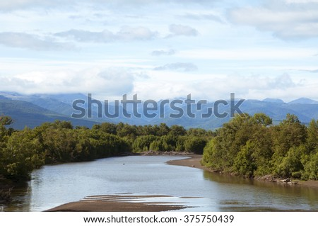 Views of the river Kamchatka - stock photo