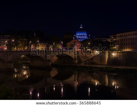 Views of the Vatican and Ponte Vittorio Emanuele , Roma, Italy - stock photo