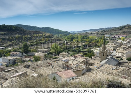 Views of Uncastillo. It is a historic town and municipality in the province of Zaragoza, Aragon, eastern Spain. In 1966 it was declared a Historic-Artistic site. It can be seen Santa Maria Church