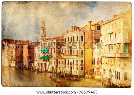 views of Venice in vintage style - stock photo