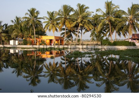 Views on Kerela Backwaters, Cochin, India - stock photo