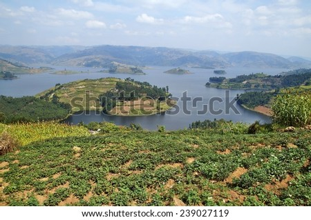 Views on Lake Bunyonyi in Uganda, Africa