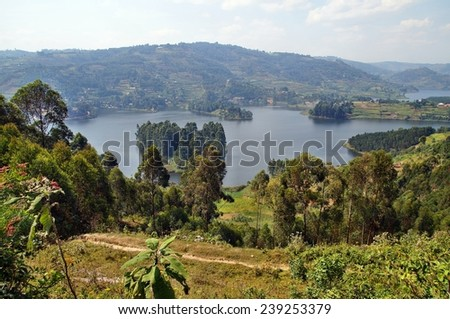 Views on Lake Bunyonyi in Uganda, Africa - stock photo