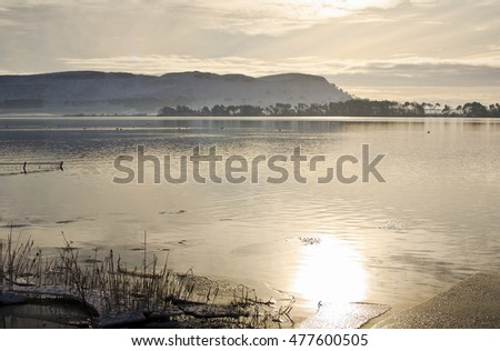 Views over Loch Leven to Lomond Hills Regional Park, Scotland