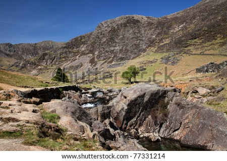 Views up the Watkins Path leading to the summit of Snowdon Snowdonia National park North Wales