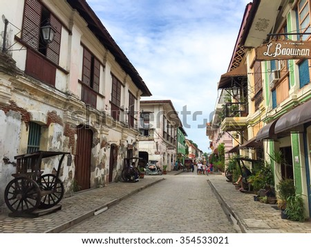 VIGAN, PHILIPPINES - July 24, 2015: The City of Vigan. It is a World Heritage Site in that it is one of the few Hispanic towns left in the Philippines. It has a population of 47,246 - stock photo