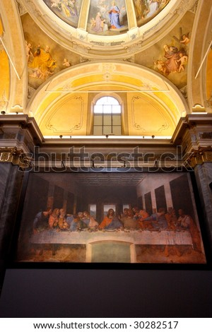 "VIGEVANO, ITALY - APRIL 8: The Last supper reproduction in an Italian Church at an exposition called ""Leonardo una mostra impossibile"" April 8, 2009 in Vigevano. - stock photo"