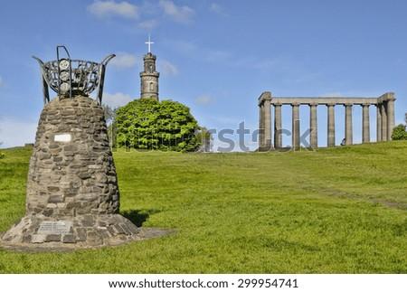 Vigil for the Scottish Parliament Monument and National Monument, Edinburgh - stock photo