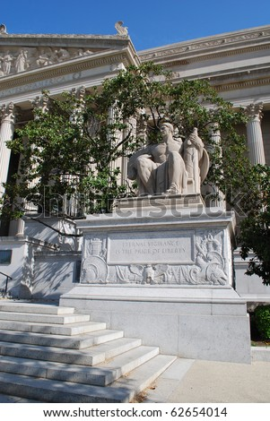 Vigilance Sculpture in Front of National Archives Building, Washington, DC - stock photo