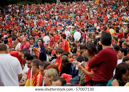 VIGO, SPAIN - JULY 11: Spanish fans during the FIFA Soccer World Cup final game, July 11, 2010 in Vigo, Spain - stock photo