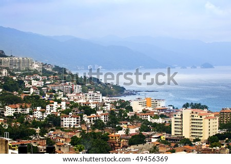 Viiew from above at  Puerto Vallarta, Mexico with Pacific ocean - stock photo