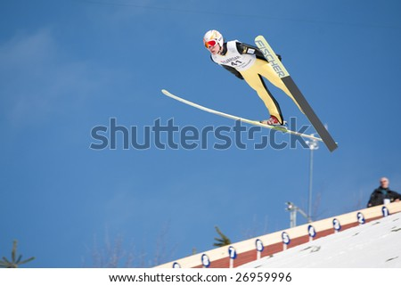 VIKERSUND, NORWAY - MARCH 15: Shohei Tochimoto of Japan competes in the FIS World Cup Ski Jumping Competition on March 15, 2009 in Norway.