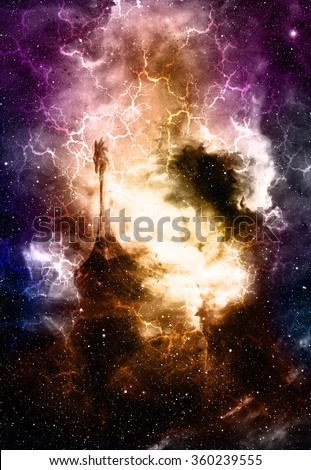 Alien monster on space background 3d stock illustration 768084481 viking boat in space and stars with flash black color background computer collage voltagebd Images