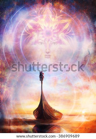 Viking Boat on the beach and woman face. Boat with wood dragon. Structure background, red, orange, yellow, black, violet and blue color. Color painting collage - stock photo