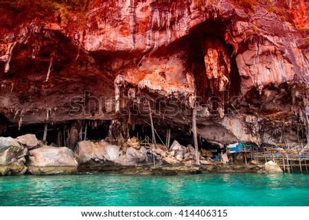 Viking cave at Phi Phi island, Krabi, Thailand, Asia. - stock photo