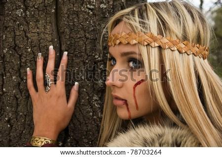 Viking girl - stock photo