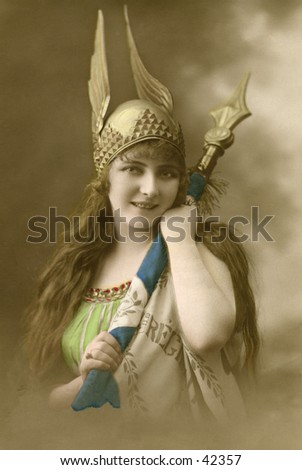 Viking Girl - A circa 1900, hand-tinted, vintage opera photograph. - stock photo
