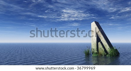 viking rune rock at the ocean - 3d illustration