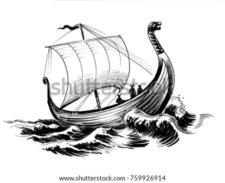 Vikings Ship Black White Ink Drawing Stock Illustration 759926914 ...
