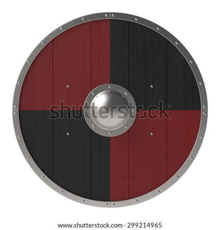 Viking shield with black-red pattern - stock photo
