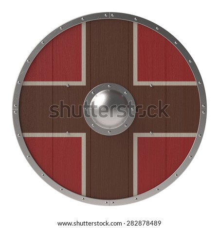 Viking shield with brown-red cross pattern - stock photo