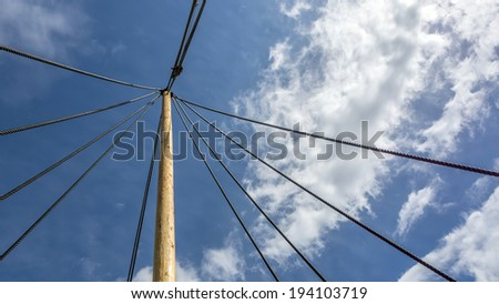 Viking ship mast and rigging rope lines