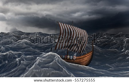 Viking ship on the dramatic wavy sea in the storm. Drakkar and ocean.