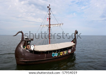 Viking ship on the sea - stock photo