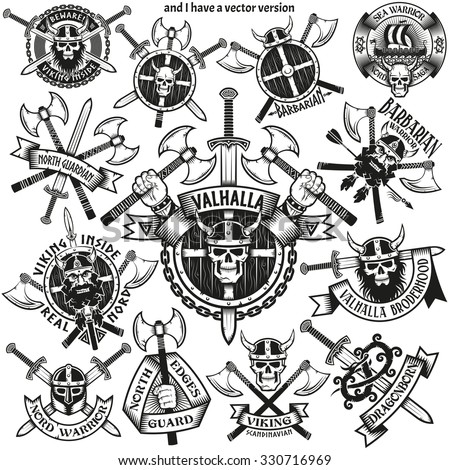 Viking tattoos with skulls, swords, axes and shields. Emblems of medieval Normans. - stock photo