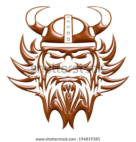 ... warrior head mascot in 3d chocolate on white background. - stock photo