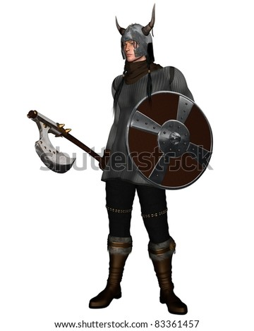 Viking Warrior with shield and fantasy style axe and horned helmet, 3d digitally rendered illustration - stock photo