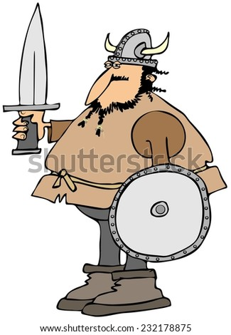 Viking with a sword and shield - stock photo
