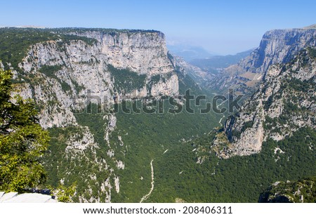 Vikos gorge of Pindos mountains at Epirus in Greece - stock photo