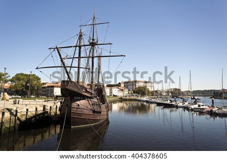VILA DO CONDE, PORTUGAL - September 20, 2015: Replica of a caravel, a small sailing ship developed by the Portuguese to explore the West African coast, on September 20, 2015 in Vila do Conde, Portugal - stock photo