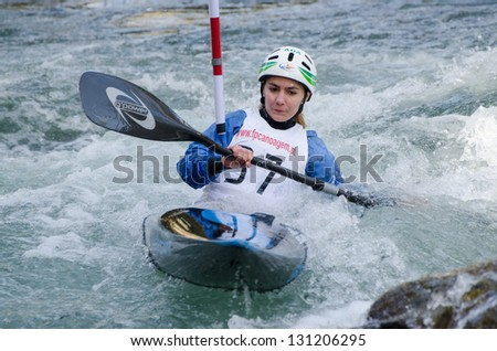 VILA NOVA DE CERVEIRA, PORTUGAL - FEBRUARY 3: Patricia Queiros during the Taca Iberica de Slalom on february 3, 2013 in Vila Nova de Cerveira, Portugal.
