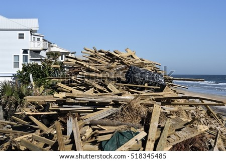 VILANO BEACH, FLORIDA, USA - OCTOBER 22 ,2016: Beach debris caused by hurricane Matthew hitting along the east coast of Florida on October 7, 2016