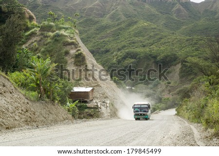 VILCABUMBA,LOJA ECUADOR, Circa May 2012 2011. Dirt road in the Andes, Loja Ecuador Circa May 2012. Construction on main roads has created dust and dirty conditions. - stock photo