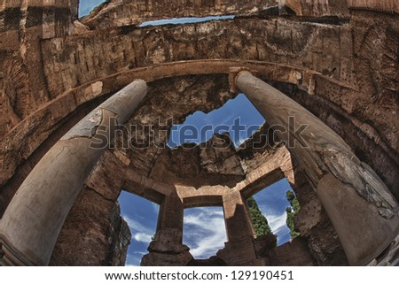 Villa adriana ancient roman ruins of emperor palace - stock photo