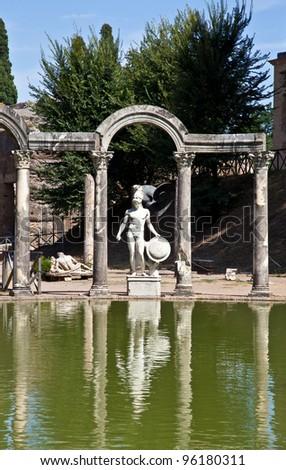 Villa Adriana in Tivoli - Italy. Example of classic beauty in a roman villa. - stock photo