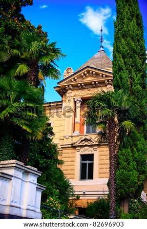Villa in Lugano city near lake Lugano - stock photo