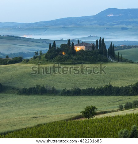 villa in morning twilight time  in Tuscany in Italy - stock photo