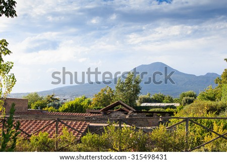 Villa of the Mysteries in Pompeii, Italy. Pompeii is an ancient Roman city died from the eruption of Mount Vesuvius in the 1st century. - stock photo